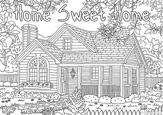 Home Sweet Home | simple coloring book for adults | easy coloring book for an old person