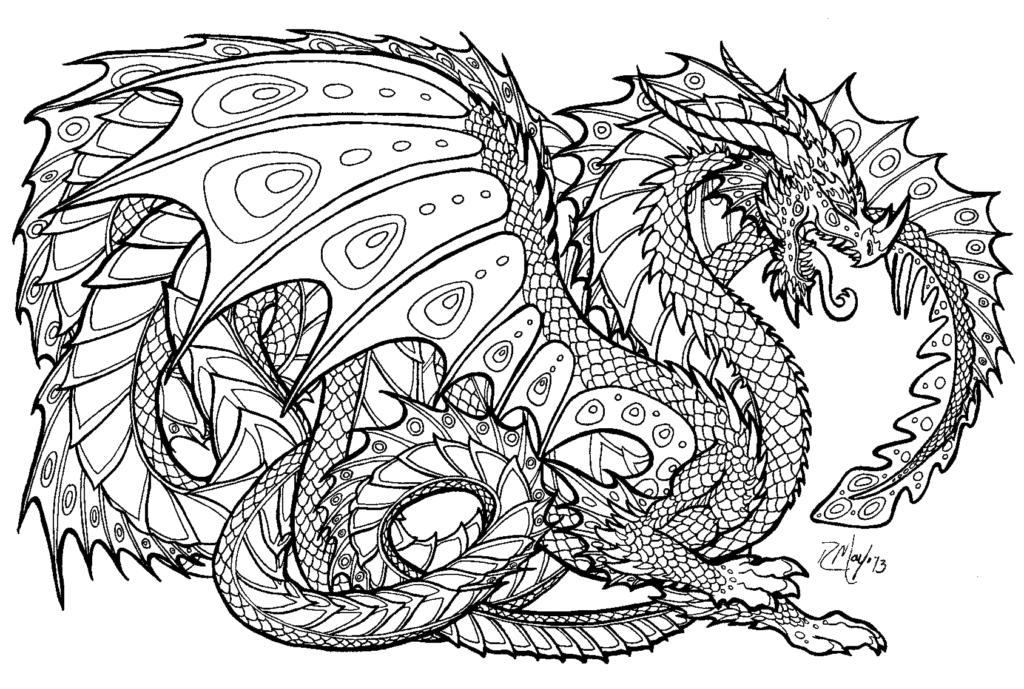 Fearless Dragon | coloring pages for girls | online coloring pages